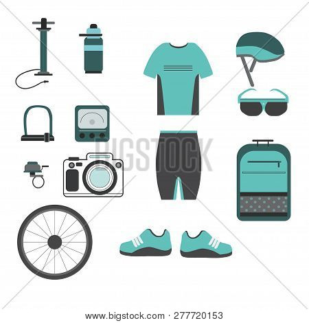 Cycling Accessories. Set Of Colored Icons With Biker Uniform Ele