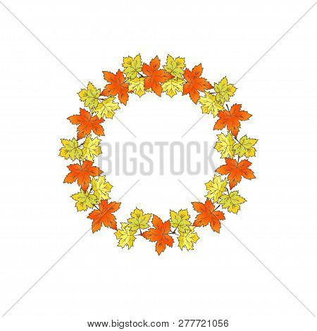 Round Frame Of Autumn Maple Leaves.  Decor For Invitations, Gree