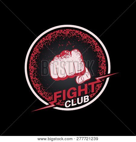 Fist With Blood Spots In A Circle. Emblem Fight Club. Logo. Concept Of Mixed Martial Arts. The Press