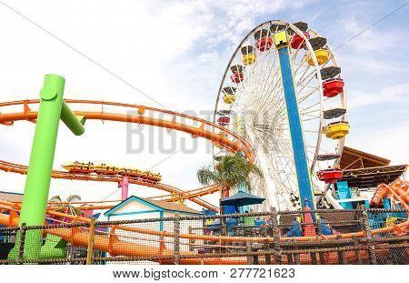 Los Angeles - 18 March 2015: Side Horizontal View Of Multicolored Ferris Wheel At Santa Monica Pier