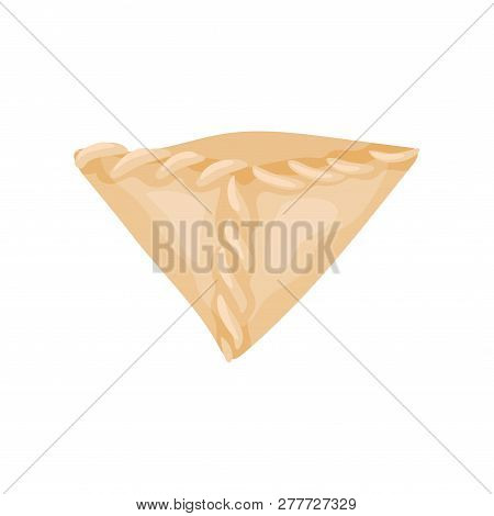 Flat Vector Icon Of Traditional Tibetan Momo. Dumpling Dough Of Triangular Shape. Culinary Theme