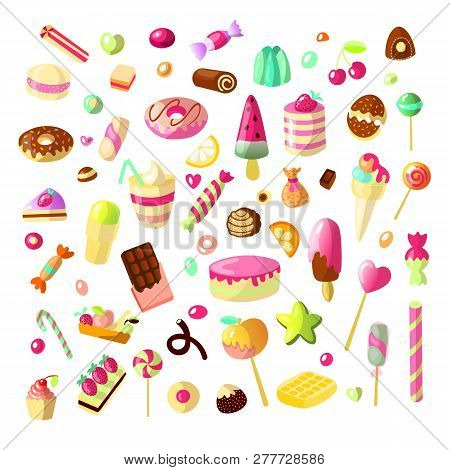 Sweet Cartoon Candy Set. Collection Of Sweets, Cartoon Style. Jelly, Candy, Cakes, Sweet Donut And M