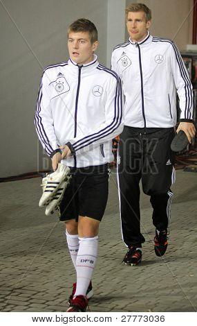 Toni Kroos And Peer Mertesacker Of Germany