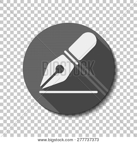 Ink Pen, Simple Icon. Flat Icon, Long Shadow, Circle, Transparent Grid. Badge Or Sticker Style