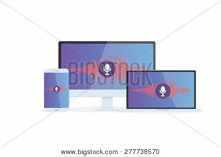 Voice Recognition Personal Assistant On Mobile App. Concept Flat Vector Illustration Of Device With