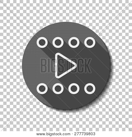 Play Movie, Linear Outline Icon. Flat Icon, Long Shadow, Circle, Transparent Grid. Badge Or Sticker