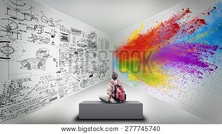 Young Man Sitting In A Room Divided By Brain Hemispheres.creative Half And Logical Half.