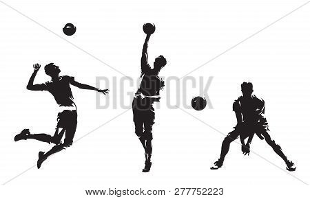 Group Of Volleyball Players, Set Of Isolated Vector Silhouettes. Team Sport, Active People. Beach Vo