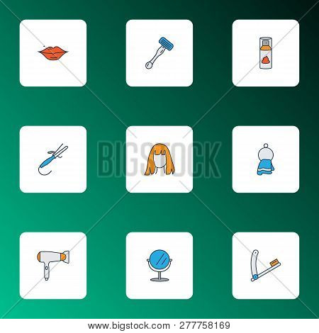 Hairdresser Icons Colored Line Set With Shaving Cream, Curling Iron, Razor Blade And Other Coiffure