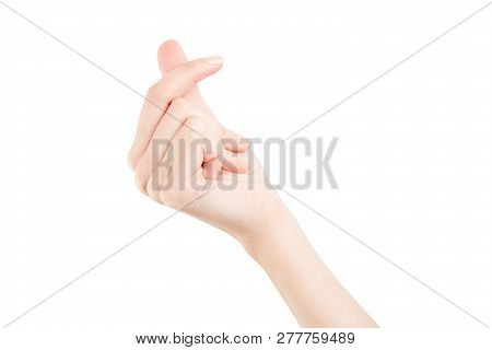 Female Hand Isolated On White Background. White Woman's Hand Showing Symbols And Gestures. Korean Mi