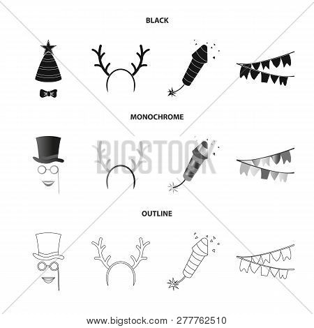 Isolated Object Of Party And Birthday Sign. Set Of Party And Celebration Stock Symbol For Web.