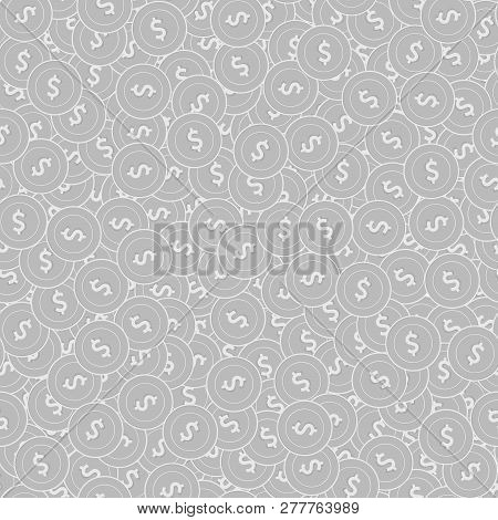 American Dollar Silver Coins Seamless Pattern. Comely Scattered Black And White Usd Coins. Success C