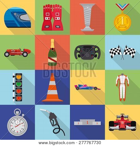 Isolated Object Of Car And Rally Icon. Set Of Car And Race Stock Vector Illustration.