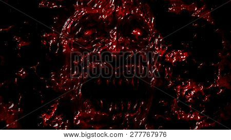 Angry Bloody Ghoul Face. Illustration In Genre Of Horror. Red Background Color.
