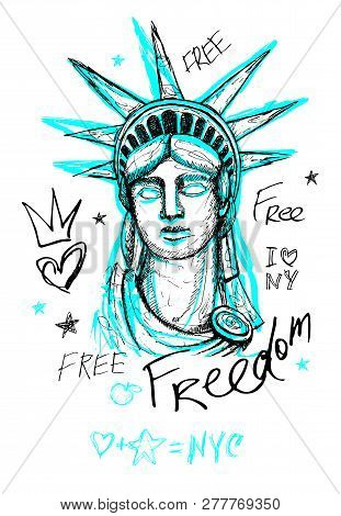 New York City Statue Of Liberty, Freedom, Poster, T Shirt, Sketch Style Lettering, Trendy Graphic Dr