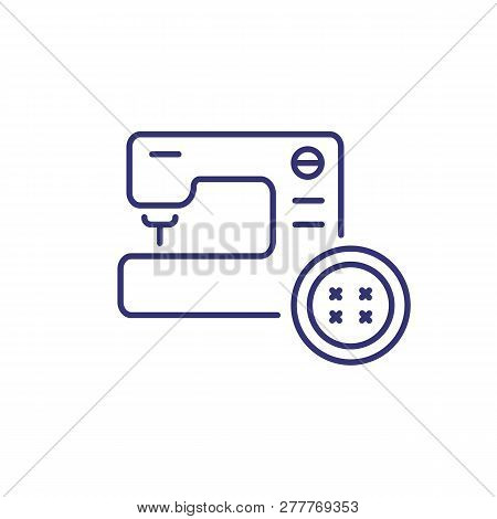 Repair of clothes line icon. Sewing machine, button, parlor. Clothes concept. Can be used for topics like clothing repair shop, service, atelier poster