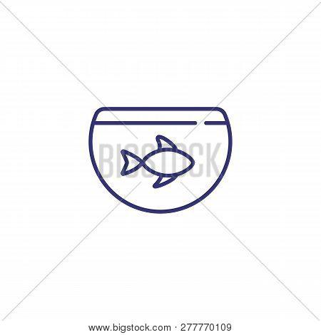 Aquarium Line Icon. Fish Bowl, Goldfish, Pet. Veterinary Concept. Vector Illustration Can Be Used Fo
