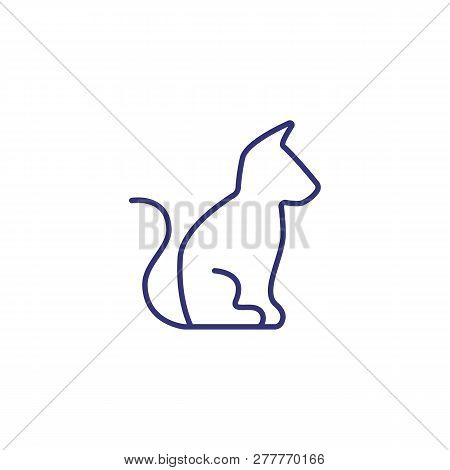 Cat Line Icon. Domestic Cat, Kitten, Pet Clinic. Veterinary Concept. Vector Illustration Can Be Used