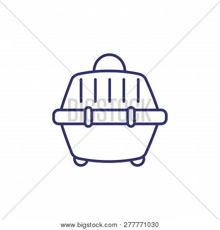Pet Carrier Line Icon. Pet Travelling, Luggage, Crate. Veterinary Concept. Vector Illustration Can B