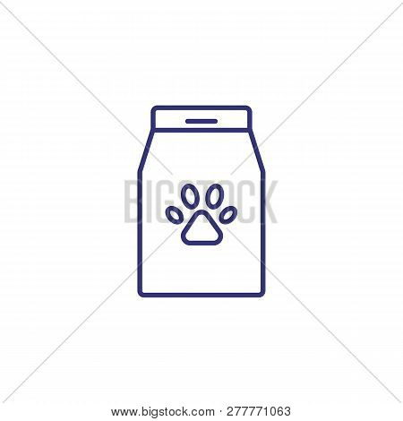 Pet Food Package Line Icon. Dog Food, Feeding, Nutrition. Veterinary Concept. Vector Illustration Ca