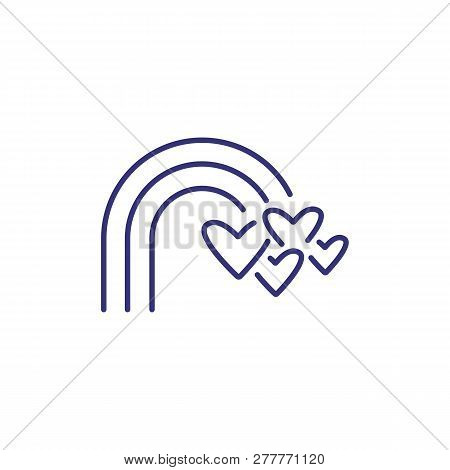 Rainbow With Hearts Symbol Line Icon. Lgbt Community, Homosexual Relationships, Bisexual Relationshi
