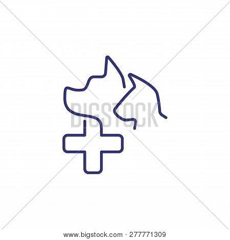 Veterinary Pharmacy Symbol Line Icon. Pet Clinic, Pet Medical, Pet Care. Veterinary Concept. Vector