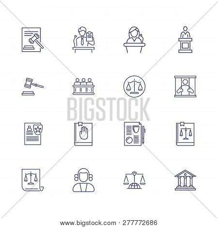 Court Line Icon Set. Witness, Jail, Constitution. Justice Concept. Can Be Used For Topics Like Crime