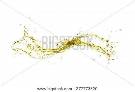 Olive Oil Splashing Isolated On White Background