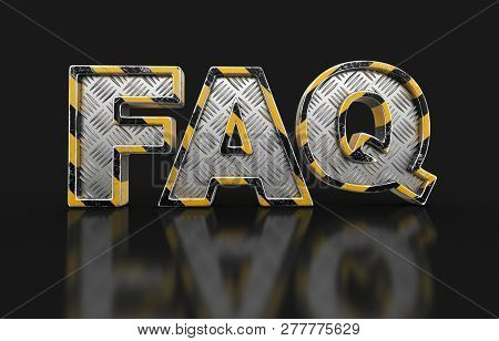 3d Illustration. Metal Faq Text. Image With Clipping Path.