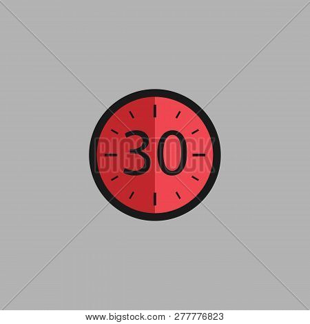 Thirty Seconds Clock On Gray Background. Stopwatch Icon In Flat Style, Red Timer. Sport Clock. Vecto