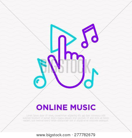 Hand Push Button Play And Notes Around. Modern Vector Illustration.