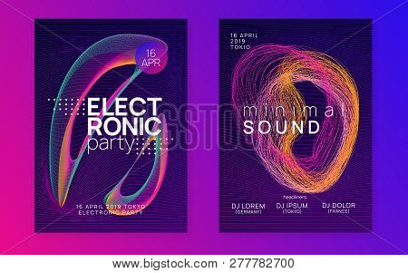 Electronic Party. Digital Concert Cover Set. Dynamic Gradient Shape And Line. Neon Electronic Party