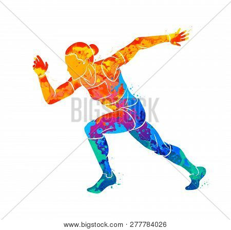 Abstract Of A Running Woman Short Distance Sprinter From Splash Of Watercolors. Vector Illustration