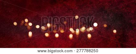 Dark Red Valentins Day Background With Golden Bokeh