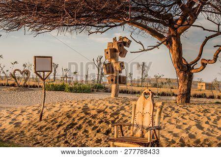 Barbeque Area In The Love Lakes Dubai. A New Tourist Destination In The Vicinity Of Al Qudra Lakes D