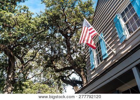 Savannah City In Georgia With Usa Flag