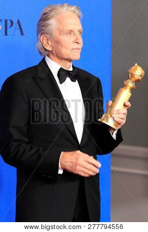 BEVERLY HILLS - JAN 6: Michael Douglas at the 76th Annual Golden Globe Awards at The Beverly Hilton Hotel on January 6, 2019 in Beverly Hills, California
