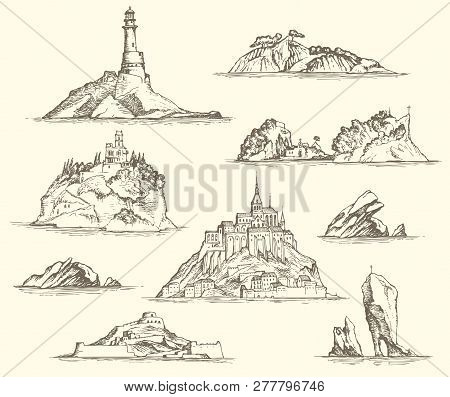 Vector Set Of Island Sketches Isolated On Beige Background In Retro Style. Pencil Drawings Of The Is