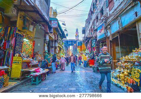 Cairo, Egypt - December 20, 2017: Khan El-khalili Market Is A Fine Example Of Real Arabian Market Wi
