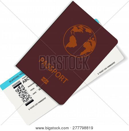 Realistic Airline Ticket Or Boarding Pass Design With Unreal Flight Time And Passenger Name. Vector