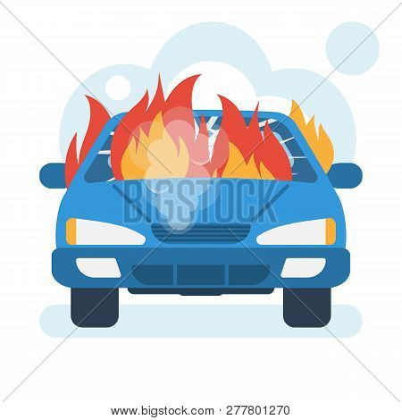 Burning Car Icon. Car On Fire. Broken Auto Covered With Fire And Smoke. Vector Illustration Flat Des