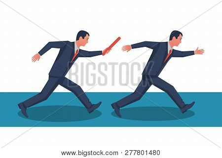 Teamwork Concept. Two Businessman Passed From Hand To Hand Relay Baton. Vector Illustration Flat Sty