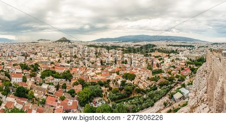 Athens, Greece - June 12, 2013: Panoramic Cityscape View On Greece Capital Athens City From Acropoli