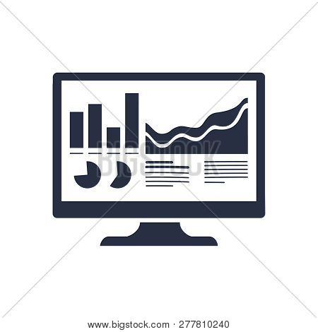 Analytics Monitor Icon. Trendy Flat Vector Analytics Monitor Icon On Transparent Background From Bus