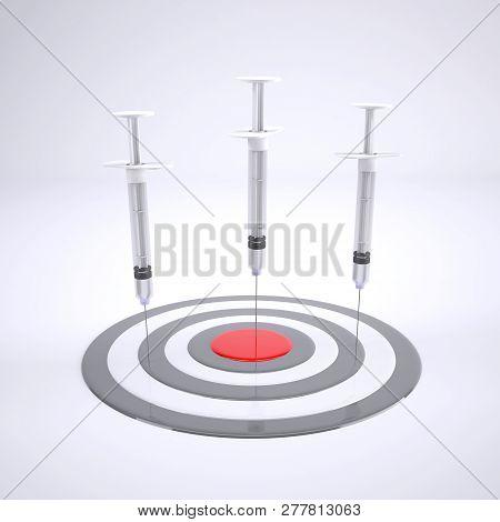 Three Syringe With Bull's Eye Isolated On White Background