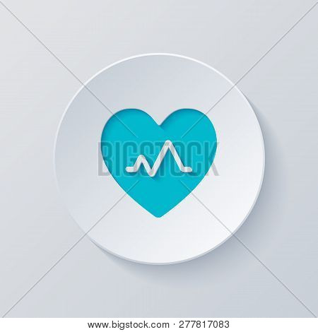 Cardiac Pulse. Heart And Pulse Line. Simple Single Icon. Cut Circle With Gray And Blue Layers. Paper