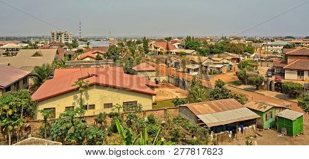 Modern Residential Buildings In Africa. Suburb Lifestyle In Developing Countries. Beautiful Urban La