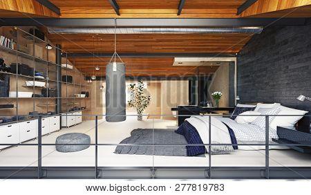 modern loft bedroom interior. 3d rendering design