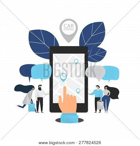 Carsharing Concept Illustration Of Various People Using Mobile Gadgets To Rent A Car Via Car Sharing