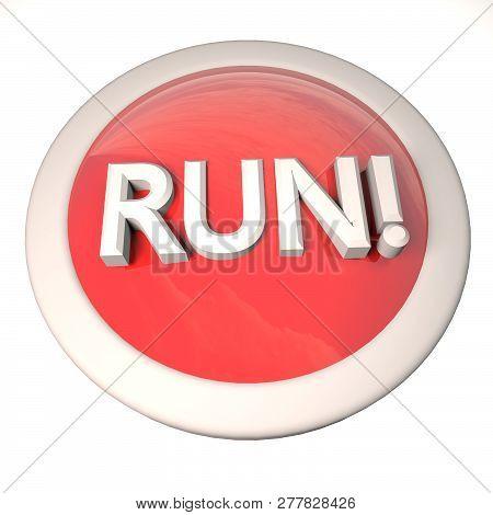 Run Button Over White Background